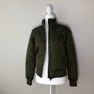 Nike Olive Green Quilted Bomber Jacket